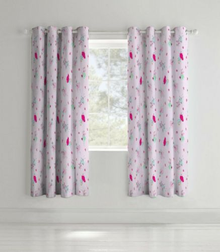 Catherine Lansfield Fairies Pink Eyelet Curtains